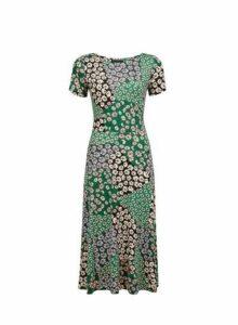 Womens Multi Coloured Mix Floral Print Split Midi Dress, Multi Colour