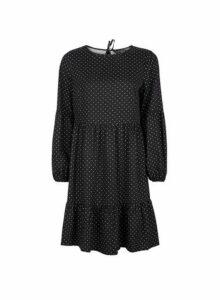 Womens Black Spot Print Smock Dress- Black, Black