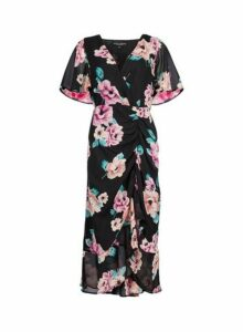 Womens **Black Floral Print Ruched Midi Dress- Multi Colour, Multi Colour
