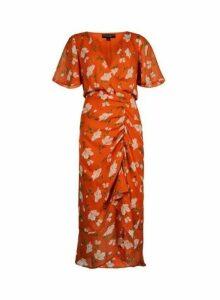 Womens **Orange Floral Print Ruched Midi Dress- Multi Colour, Multi Colour