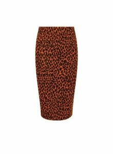 Womens Toffee Animal Print Skirt- Brown, Brown