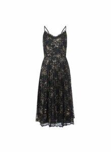 Womens **Luxe Black Metallic Lace Midi Dress- Black, Black