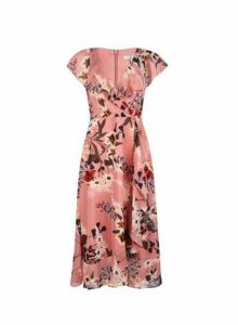 Womens **Billie & Blossom Tall Pink Floral Print Wrap Dress- Pink, Pink