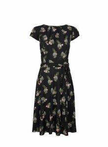 Womens **Billie & Blossom Tall Tiger Floral Print Dress- Black, Black