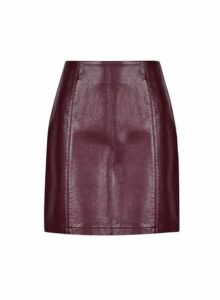 Womens Aubergine Seam Pu Mini Skirt- Purple, Purple