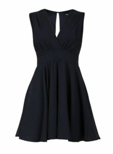 Womens *Tfnc Navy V Wrap Neck Mini Dress- Black, Black
