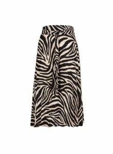 Womens Petite Multi Colour Zebra Print Pleated Midi Skirt- Black, Black