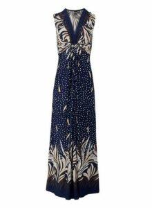 Womens *Izabel London Navy Eastern Print Knot Front Maxi Dress, Navy