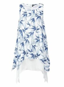 Womens *Izabel London Blue Floral Print Layered Hem Shift Dress- Blue, Blue