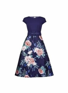 Womens **Luxe Navy Floral Print Belted Midi Skater Dress- Blue, Blue