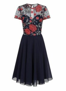 Womens *Chi Chi London Navy Embroidered Midi Dress- Blue, Blue