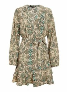 Womens *Quiz Multi Coloured Snake Print Long Sleeve Dress- Green, Green