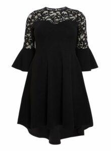 Womens *Quiz Black 3/4 Sleeve Dip Hem Dress- Black, Black