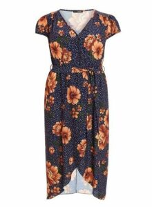 Womens *Quiz Navy Floral Print Wrap Dress, Navy