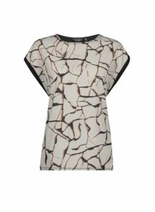 Womens Multi Colour Crackle Print Front T-Shirt- Multi Colour, Multi Colour