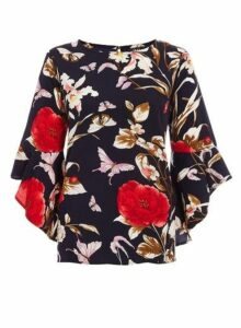 Womens *Quiz Multi Colour Floral Print Frill Sleeve Top- Multi Colour, Multi Colour
