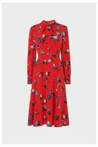 Womens L.K.Bennett Red Mortimer Silk Tea Dress -  Red
