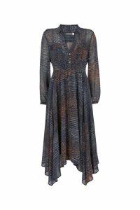 Womens Mint Velvet Navy Spot Shirt Midi Dress -  Animal