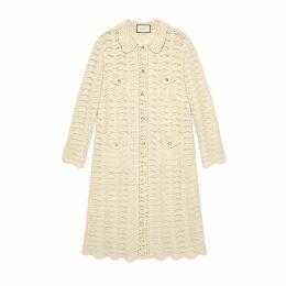Oversize crochet wool cardigan