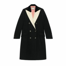 Wool coat with satin lapel