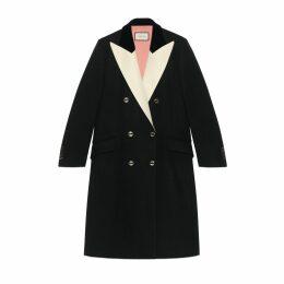 Wool coat with satin lapel