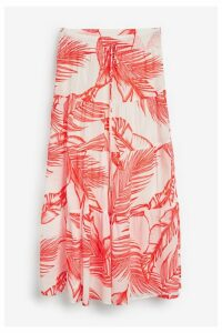 Womens Next Palm Print Tiered Skirt -  Red