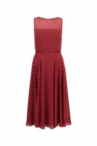 Womens Hobbs Red Della Midi Dress -  Red