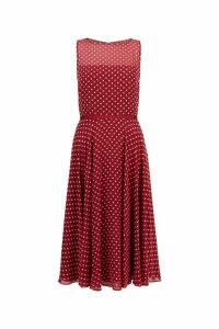 Womens Hobbs Red Della Midi Dress -  Red