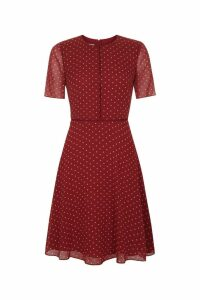 Womens Hobbs Red Cecily Spot Dress -  Red