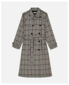 Stella McCartney Black Check Trench Coat, Women's, Size 8
