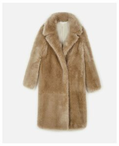 Stella McCartney Beige Blinman FUR FREE FUR Coat, Women's, Size 12