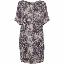 Gray and Willow Coal print tunic dress with tuck