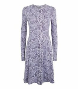 Tall Blue Snake Print Soft Touch Dress New Look