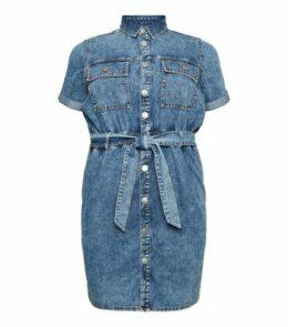 Curves Pale Blue Acid Wash Denim Shirt Dress New Look