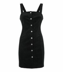 Black Stretch Corduroy Button Pinafore Dress New Look