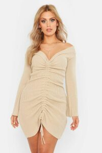 Womens Plus Ruched Bardot Knitted Dress - beige - 20, Beige