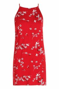 Womens Petite Floral Shift Dress - red - 14, Red