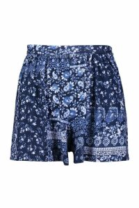 Womens Plus Paisley Print Flippy Short - blue - 20, Blue