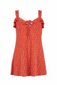 Womens Petite Morgan Floral Printed Ruched Strap Dress - orange - 14, Orange