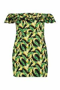 Womens Plus Banana Print Off Shoulder Ruffle Dress - yellow - 16, Yellow