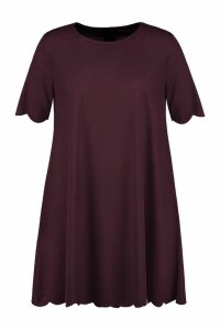 Womens Plus Scallop Edge Shift Dress - brown - 16, Brown