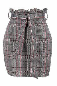 Womens Petite Paper Bag Waist Check Skirt - black - 6, Black