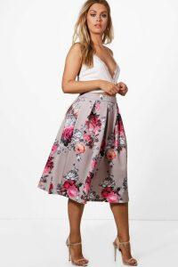Womens Plus Floral Print Scuba Midi Skirt - multi - 16, Multi