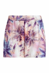 Womens Plus Palm Print Flippy Shorts - purple - 20, Purple