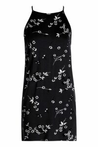 Womens Petite Floral Shift Dress - black - 12, Black