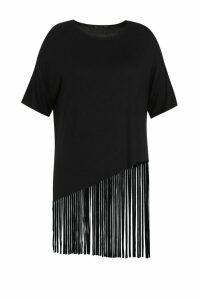Womens Plus Tassel Beach Dress - black - 16, Black