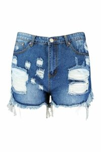 Womens Plus Extreme Rip Denim Shorts - blue - 18, Blue
