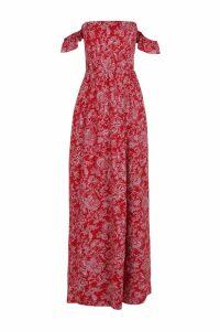Womens Petite Paisley Print Bardot Wrap Maxi Dress - red - 8, Red