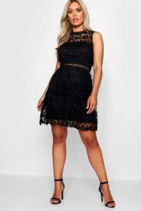 Womens Plus Lace Tiered Skater Dress - black - 22, Black
