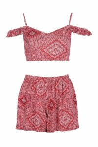 Womens Petite Printed Bralet and Short Co-ord - red - 14, Red